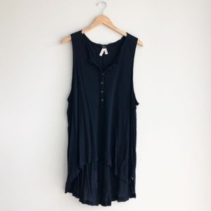 Free People High-Low Tank Top Black Size Small
